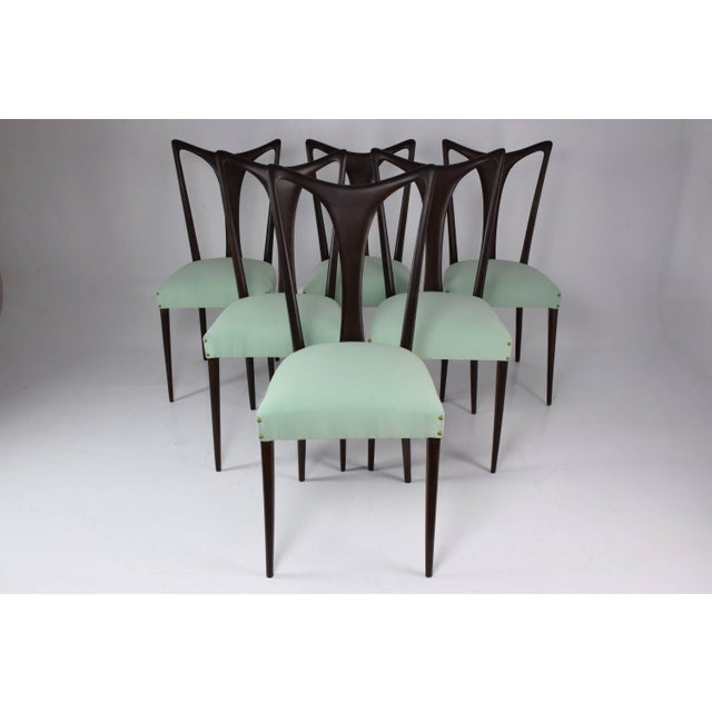 Set of six 20th century vintage Italian dining chairs designed by Guglielmo Ulrich, circa 1940s in fully restored...