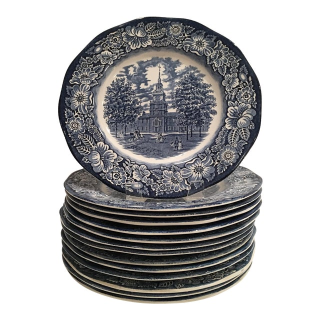 """1970's English Staffordshire """"Independence Hall"""" Dinner Plates - Set of 15 - Image 1 of 6"""