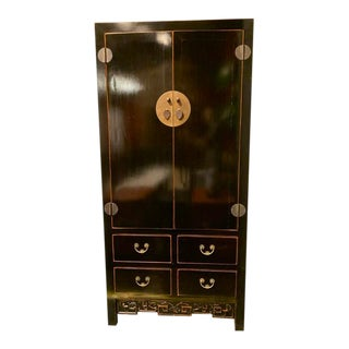 Asian Contemporary Black Lacquer Armoire For Sale