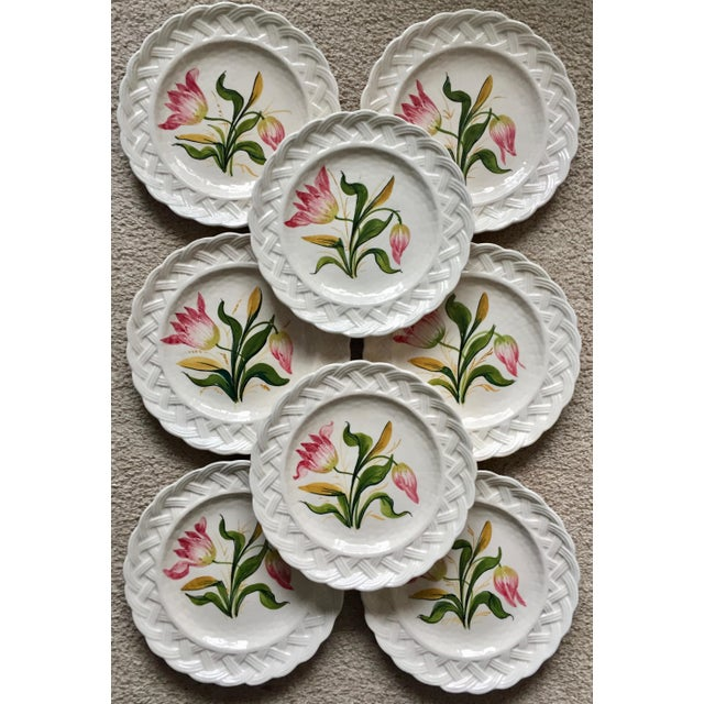 This absolutely charming set of 8 vintage Italian faience ceramic plates feature hand-painted red tulips with green leaves...