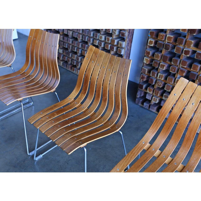 Hans Brattrud Teak Bent Wood Scandia Dining Chairs for Hove Mobler, Norway.