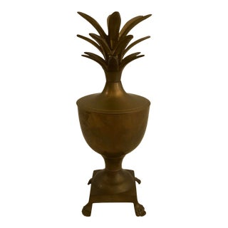 Footed Brass Pineapple Urn For Sale
