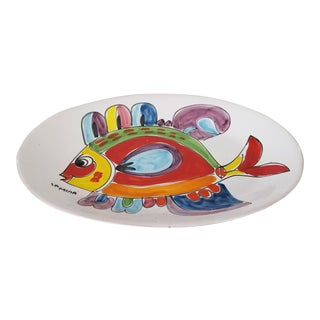 La Musa Italy Fish Ceramic Art Bowl - Plate For Sale