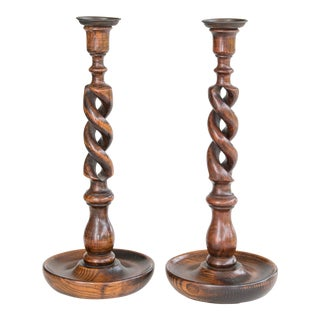 Antique English Oak Open Barley Twist Candlesticks - a Pair For Sale