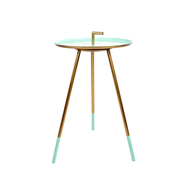 Mid-Century Modern Mid-Century Modern Round Three-Legged Brass & Turquoise Enamel Side Table 1950s For Sale - Image 3 of 13