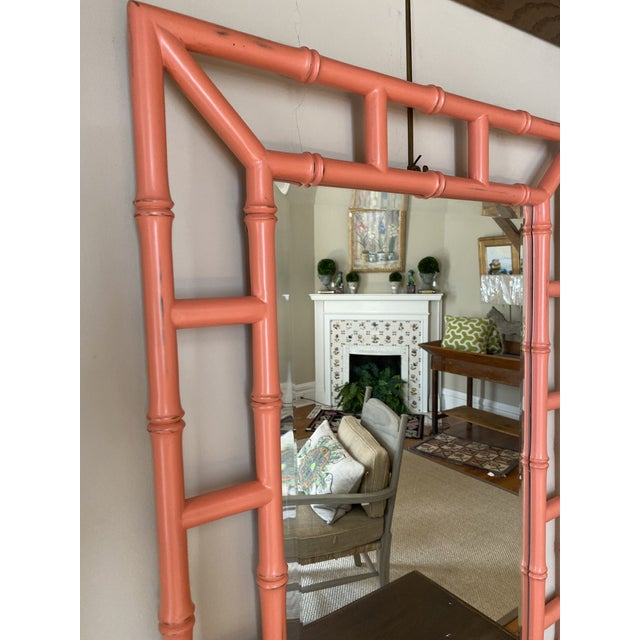 Tribal Chippendale Orange Bamboo Mirror For Sale - Image 3 of 4