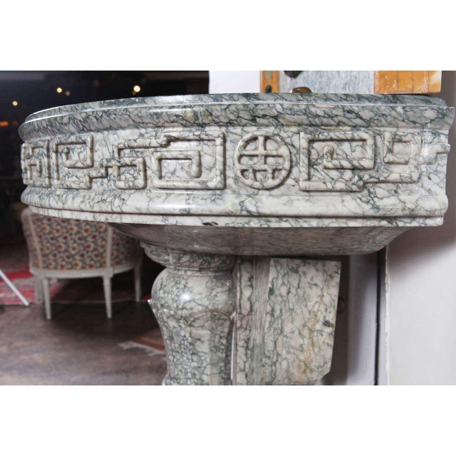19th Century French Marble Fountain with Iron Dolphin & Mosaic Decor For Sale - Image 9 of 10
