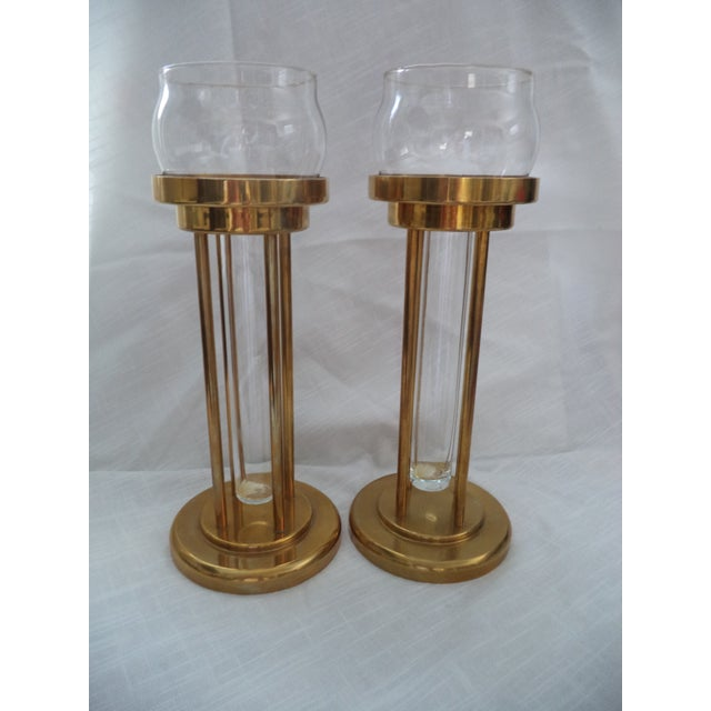 Vintage Mid-Century Brass and Glass Floating Candle Holders - a Pair For Sale - Image 9 of 10