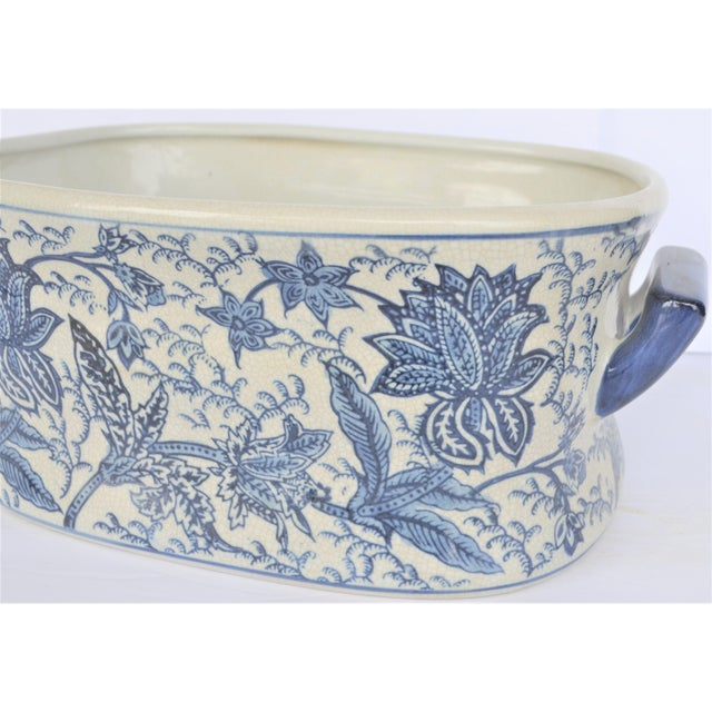 Vintage Large Floral Chinoiserie Blue & White Foot Bath For Sale - Image 4 of 5