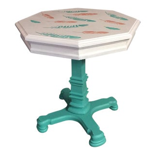 Boho Chic Teal and Coral Leaf Side Table For Sale