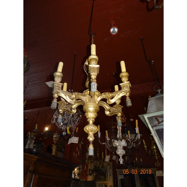 18th Century Italian Gilt Wood Chandelier For Sale - Image 12 of 13