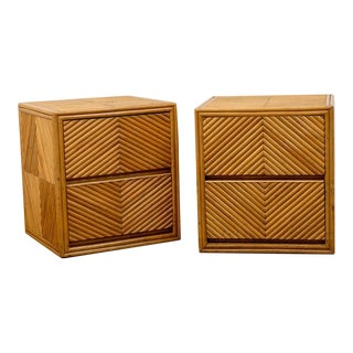 Lovely Pair of Split Bamboo Commodes For Sale