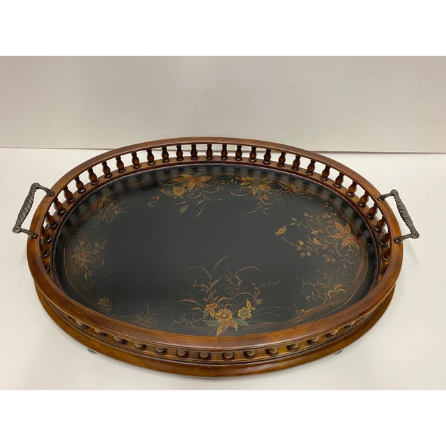 Asian Mahogany Oval Gallery Tray For Sale - Image 3 of 12