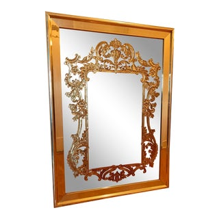 Large Gold Etched Mirror in Brass Frame For Sale