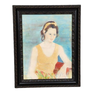 Vintage Framed Acrylic on Canvas Portrait of a Girl Painting For Sale