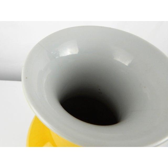 Ceramic Chinese Egg Yolk Yellow Glaze Vase For Sale - Image 7 of 8