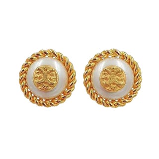 Fendi Greek Faces Faux-Pearl Earrings For Sale