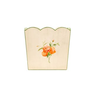 Vintage Country Style Wooden Basket With Handpainted Orange Flower and Green Borders For Sale