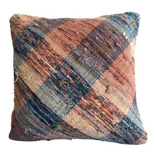 "Turkish Kilim Pillow Cover Vintage Handmade Cotton Ragrug Sham Throw Pillow - 16"" X 16"" For Sale"