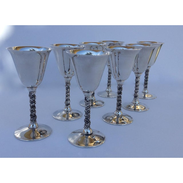 "Vintage: Silver plate Spanish, ""Valerio,"" drinks cordials, in a grapevine motif design pattern. There are 8 of these..."