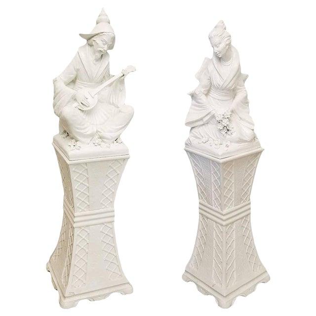 Vintage Mid-Century Blanc De Chine Musician & Maiden Figures - a Pair For Sale