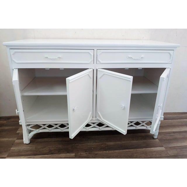 Terrific Ficks Reed White Lacquer Diamond Rattan Sideboard Buffet Caraccident5 Cool Chair Designs And Ideas Caraccident5Info