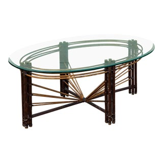 1970s Boho Chic Maison Jensen Steel Faux Bamboo and Brass Coffee Table For Sale