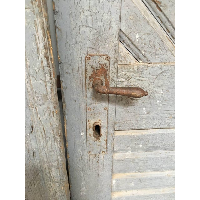 1930's Antique French Painted Farm Doors-a Pair For Sale - Image 4 of 8