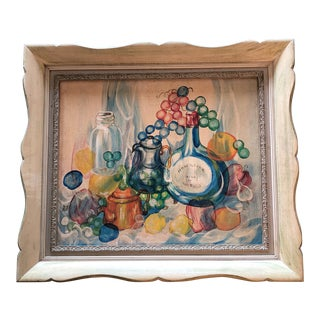 Vintage Original Still Life Painting Signed French Style Frame For Sale