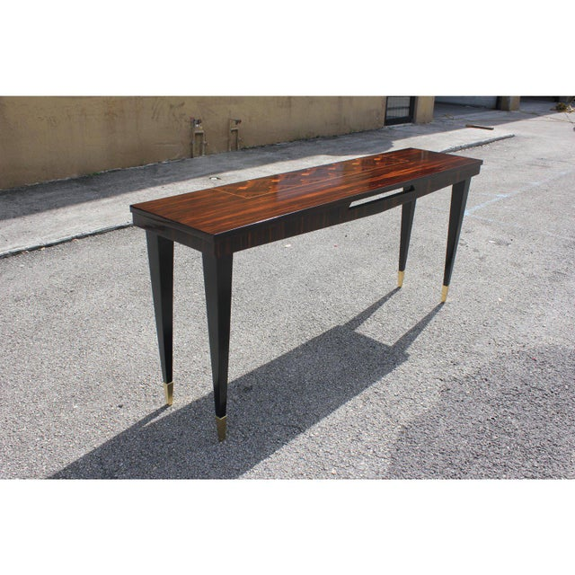 Brass French Art Deco Exotic Macassar Ebony Console Table, Circa 1940s For Sale - Image 7 of 13