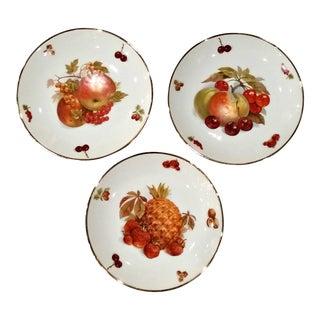 Vintage Debra Germany Porcelain Fruit Decorative Plates - Set of 3 For Sale