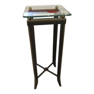 Brushed Steel Glass Topped Accent Table