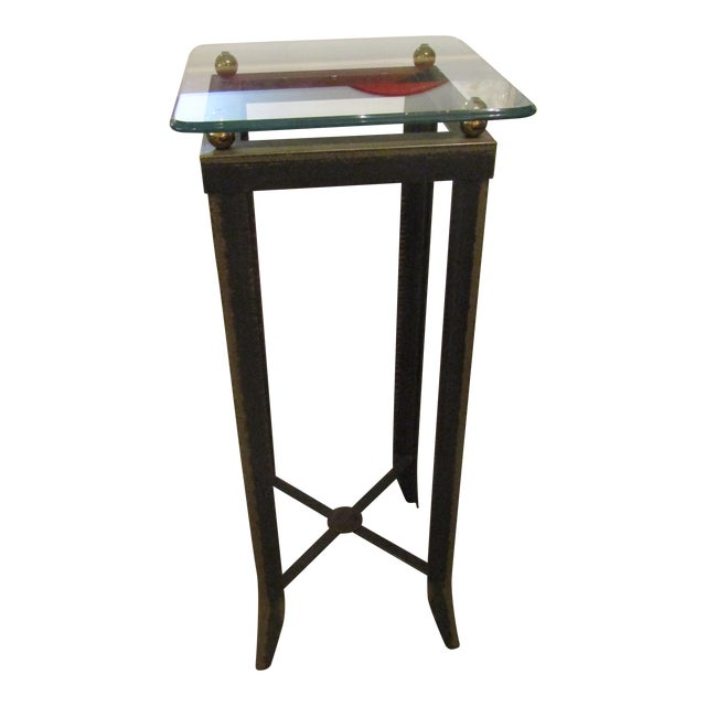 Brushed Steel Glass Topped Accent Table - Image 1 of 4