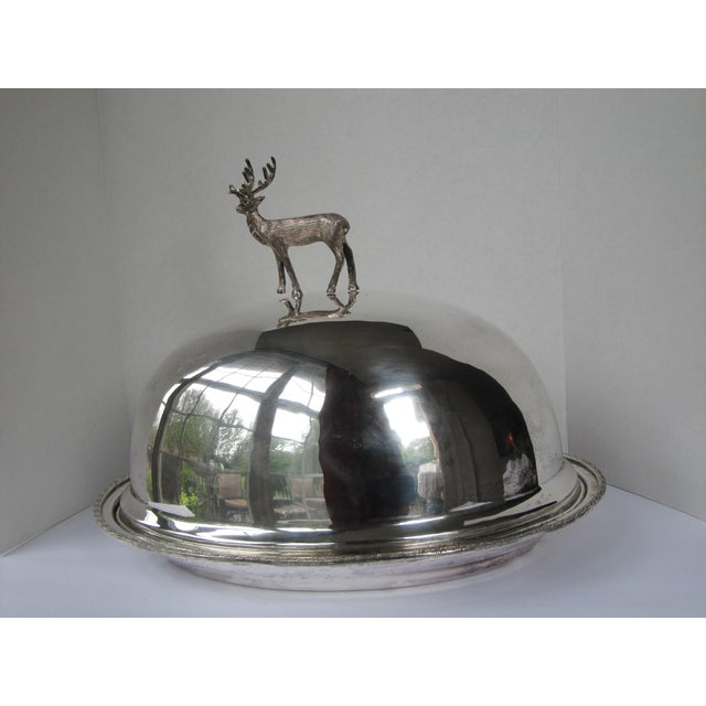 Traditional Silver-plate Meat Dome and Tray with Stag Handle For Sale - Image 3 of 10