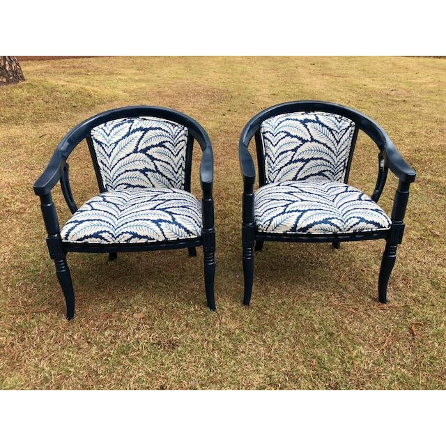 Brunschwig and Fils Navy & White Fabric Chairs - A Pair - Image 2 of 5