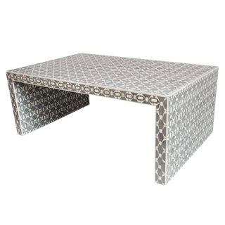 Modern Gray & White Inlaid Coffee Table For Sale