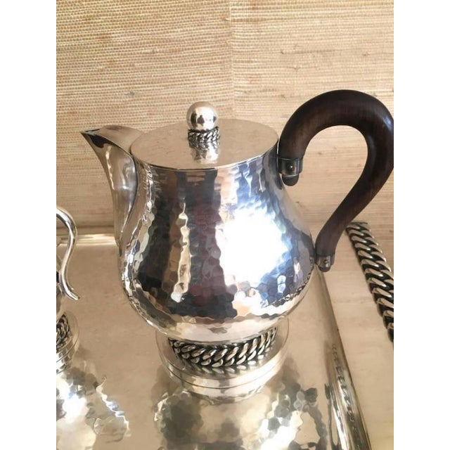 Jean Despres Stamped Superb Big Tea Set in Hammered Silvered Tin.