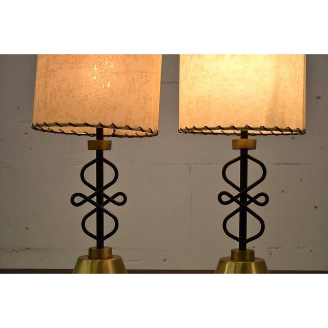 Brass Two 1950s Table Lamps By Majestic New York For Sale