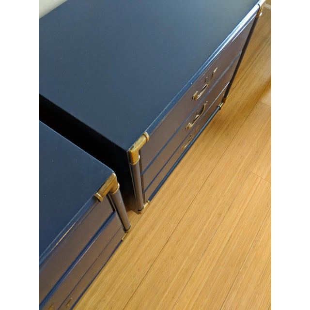 Drexel Accolade Campaign High Gloss Blue Nightstands / End Tables - A Pair For Sale In Phoenix - Image 6 of 9
