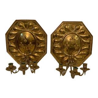 Antique Brass 19thc. Dutch Brass Repousse Sconces - a Pair For Sale