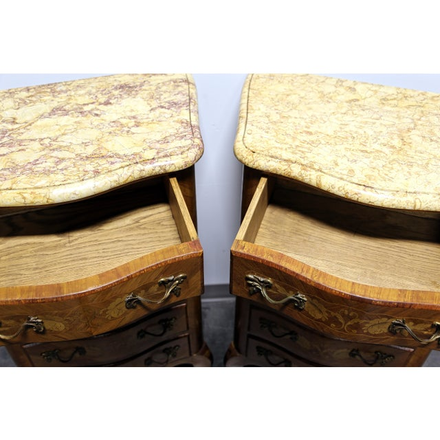 1990s French Louis XV Style Inlaid Kingwood Marble Top Lingerie Chests - Pair For Sale - Image 5 of 13