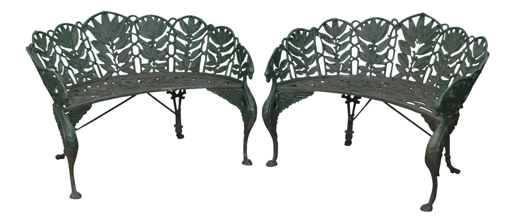 Antique Coalbrookdale Style Laurel Pattern Cast Iron Garden Benches   A Pair