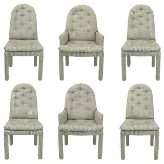 Six Fully Upholstered Arch Back Dining Chairs Attributed to Milo Baughman For Sale
