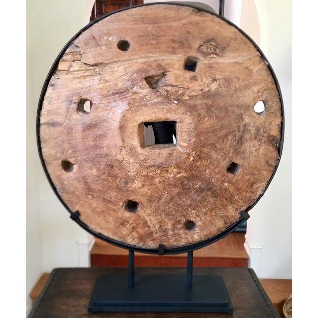 Modern Art Sculpture Made From Antique Grist Mill Grinding Wheel