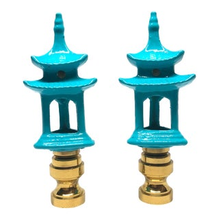Chinoiserie Turquoise Porcelain Pagoda Lamp Finials - a Pair