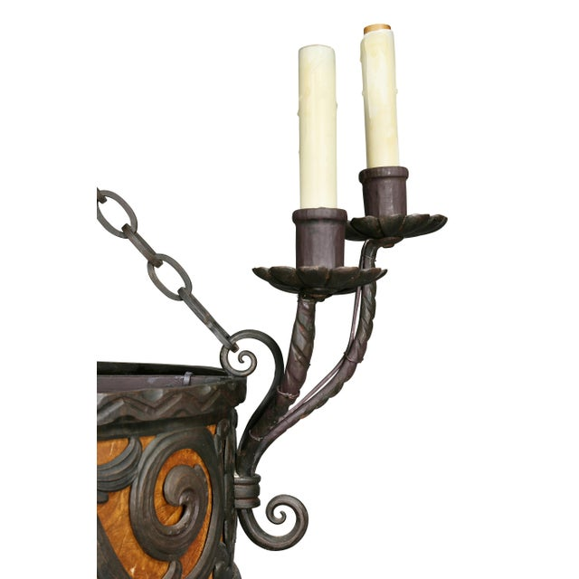 Metal Arts & Crafts Wrought Iron Chandelier For Sale - Image 7 of 12