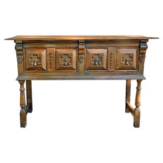 17th Century English Oak Two Drawer Sideboard For Sale