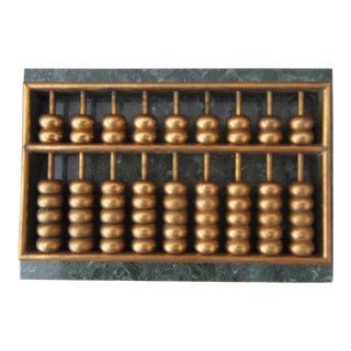 Brass Abacus On Marble Base For Sale