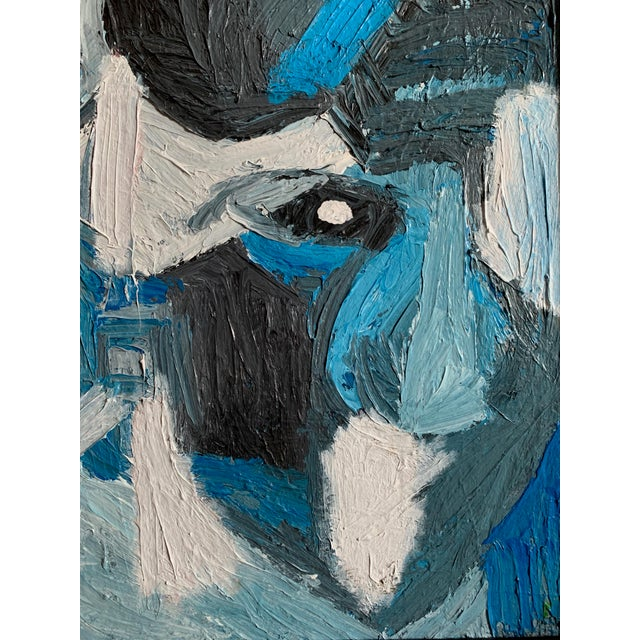 Vintage Mid Century Modern Abstract Head Portrait Oil Painting by Edelman For Sale - Image 10 of 11