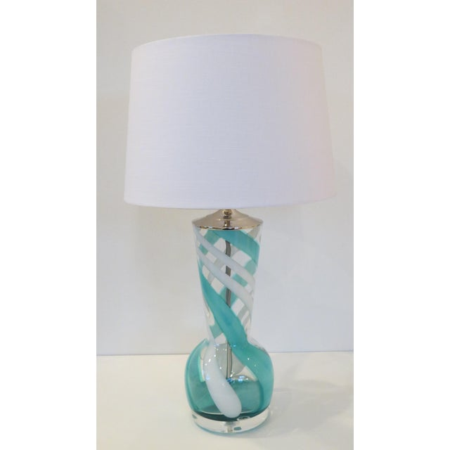 Turquoise Swirl Art Glass Table Lamp - Image 2 of 8
